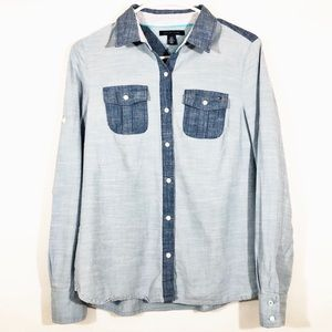 TOMMY HILFIGER TWO TONE CHAMBRAY SHIRT - SZ S